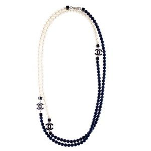 Chanel white and Navy faux pearls, glass, enamel